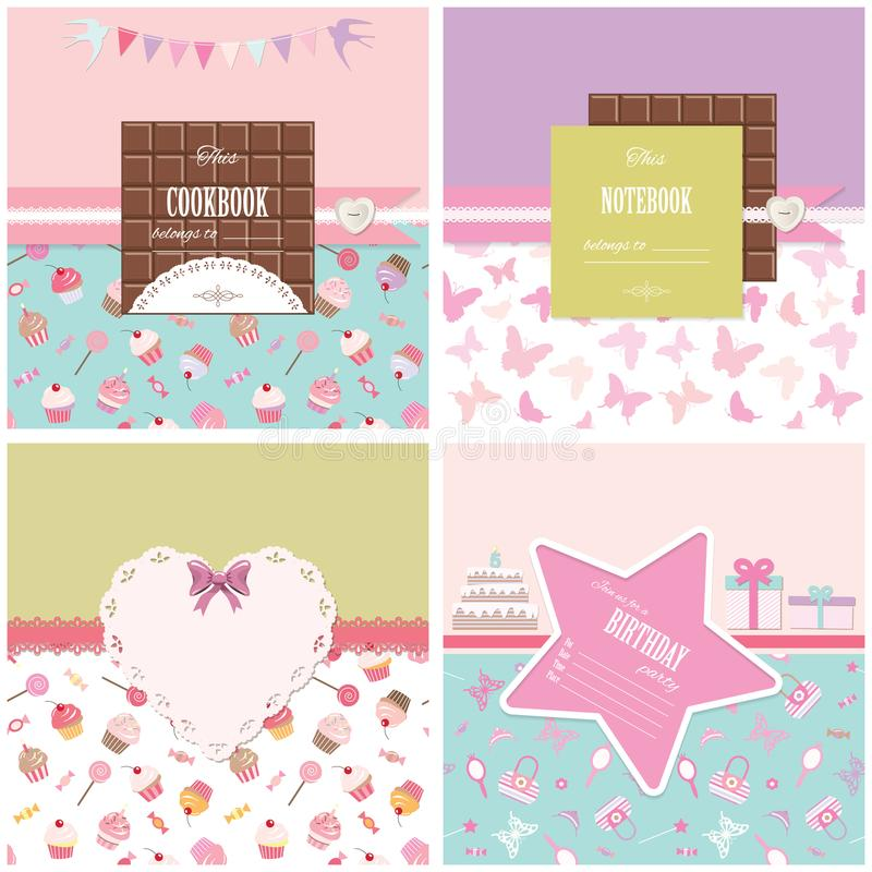Cute templates set for girls. Can be used for scrapbook design, cookbook, diary, photo album cover. Seamless pattern included vector illustration