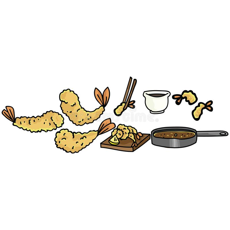 Cute tempura cooking set illustration. Hand drawn deep frying prawn. Japanese snack clipart. Cute tempura cooking set illustration. Hand drawn deep frying prawn royalty free illustration