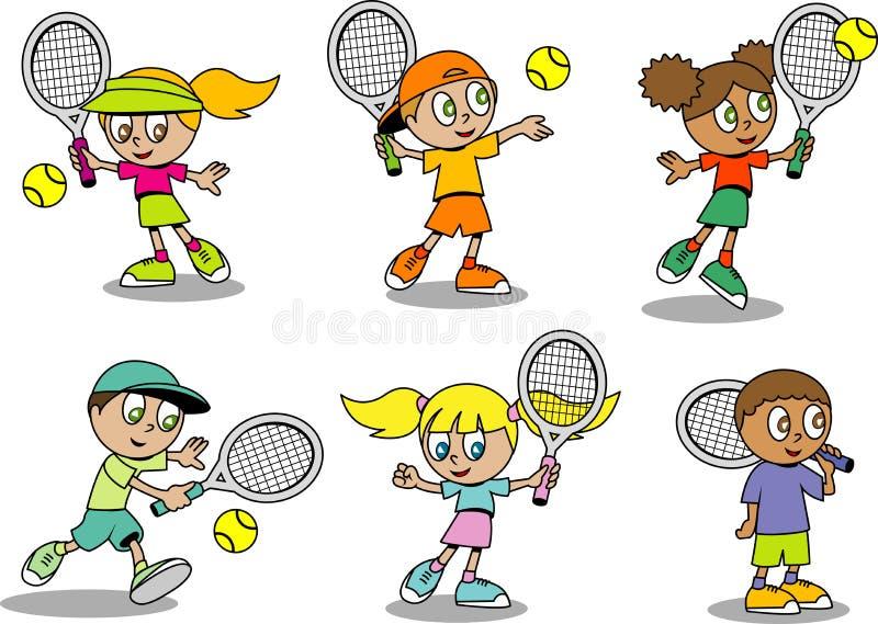 Cute tennis Kids stock illustration