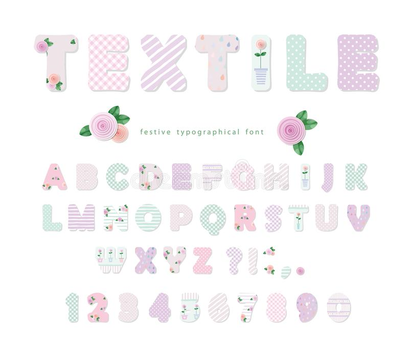 Cute textile font for scrapbook or collage design. Patchwork style. Different patterns included under clipping mask. royalty free illustration