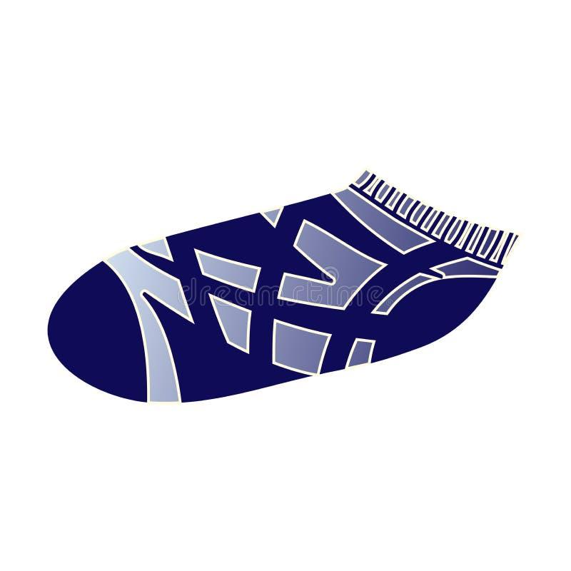 Cute textile sport socks, striped blue design. Cute textile sport socks, striped blue modern design. Cartoon style. Vector illustration on white background stock illustration