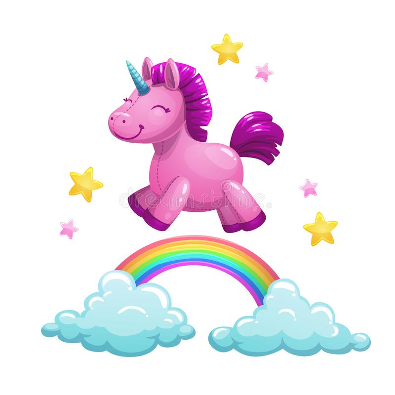 Cute textile unicorn toy running on the rainbow. Vector illustration. Cute textile unicorn toy running on the rainbow. Vector childish illustration royalty free illustration