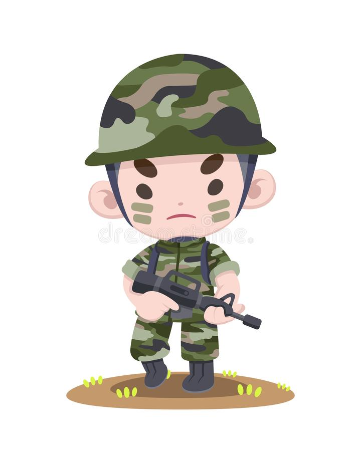 Cute Thai soldier standing strong cartoon illustration royalty free illustration
