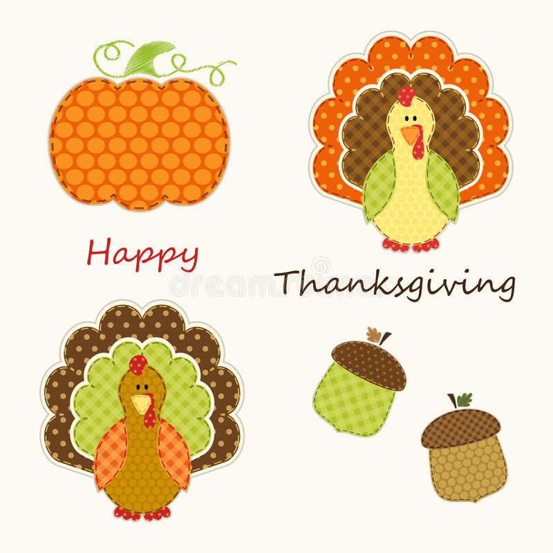 Cute Thanksgiving elements as retro fabric applique in traditional colors. Ideal as Thanksgiving greeting card royalty free illustration