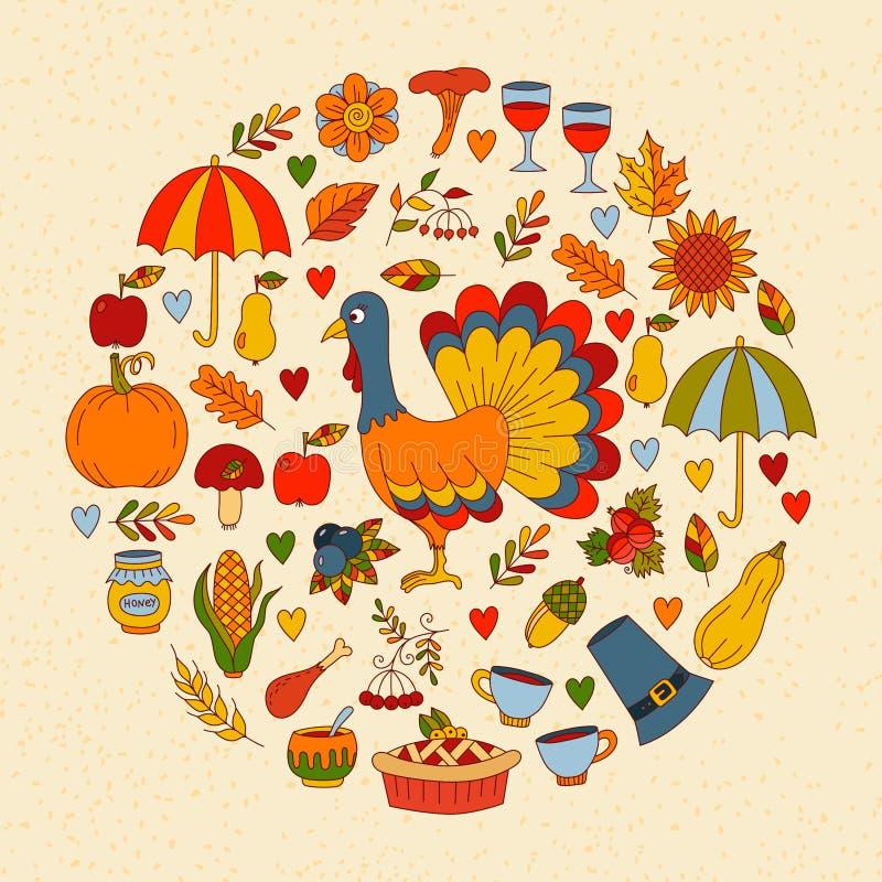 Cute thanksgiving holidays doodles circle vector illustration