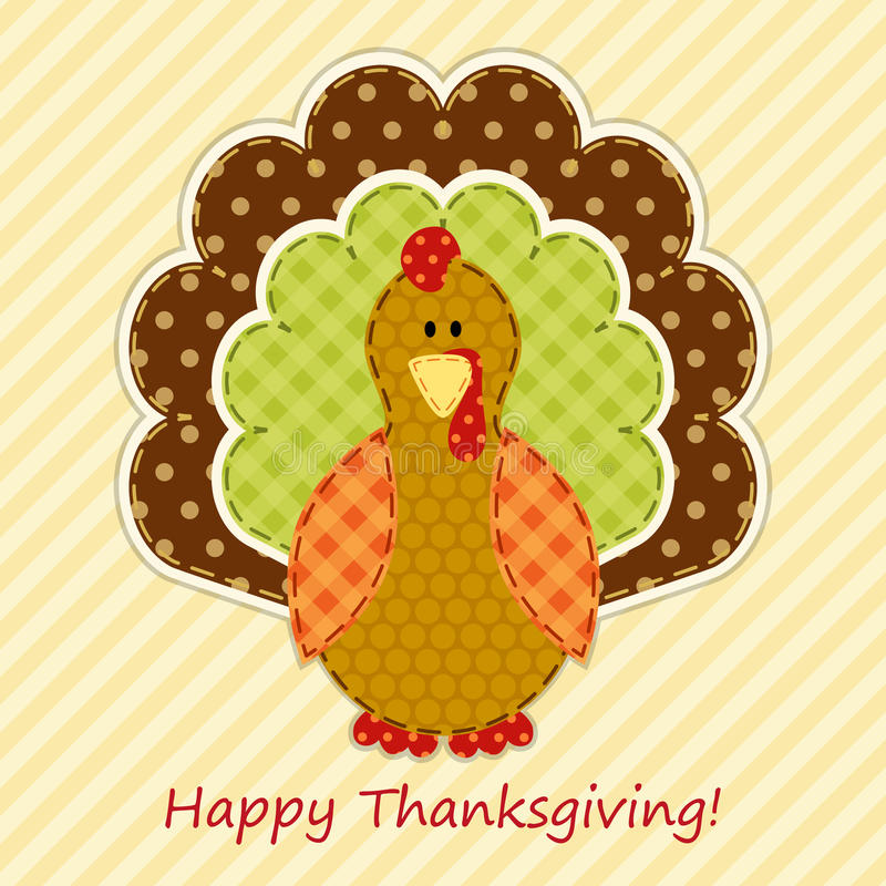 Cute Thanksgiving turkey as retro fabric applique in traditional colors royalty free illustration