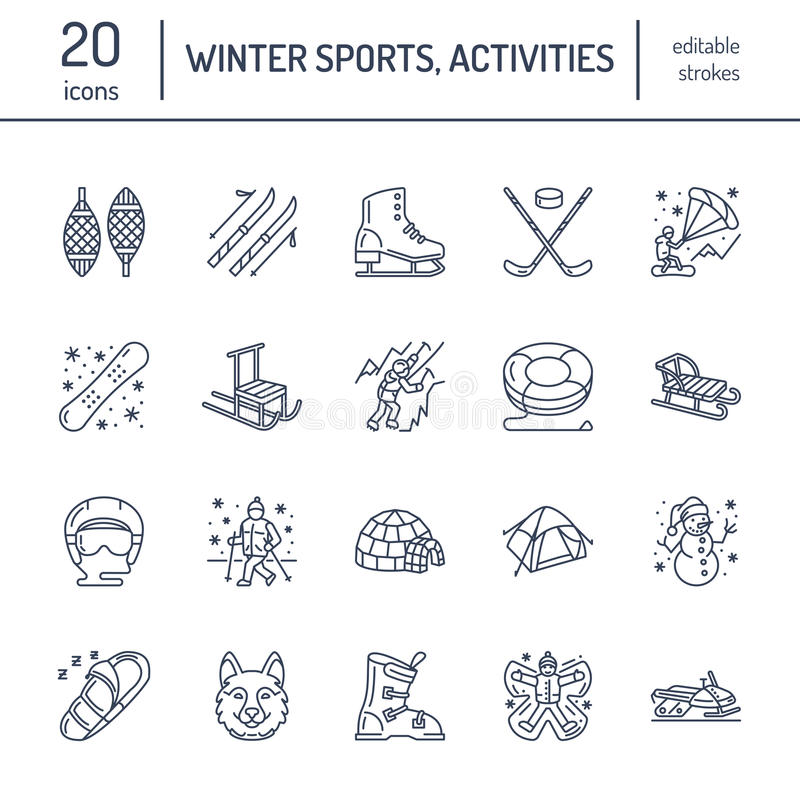 Cute thin line icons of winter sports. Outdoor activities vector elements - snowboard, hockey sled, skates, snow tubing. Ice kiting. Linear pictogram with stock illustration
