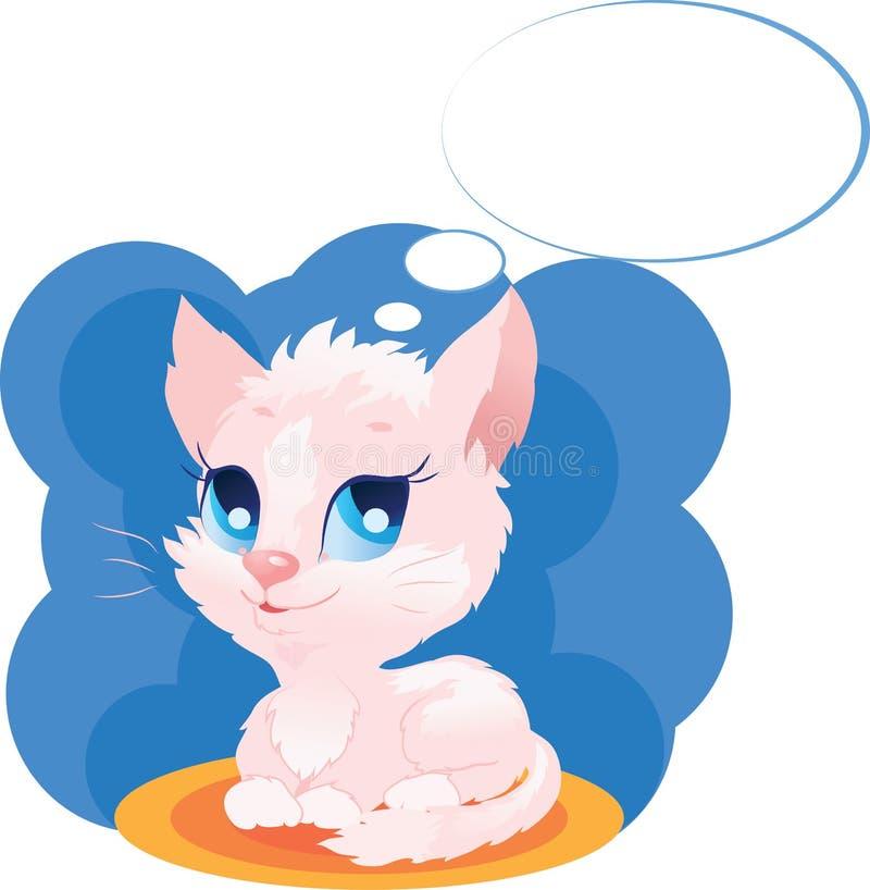 Cute thinking kitten vector illustration stock illustration