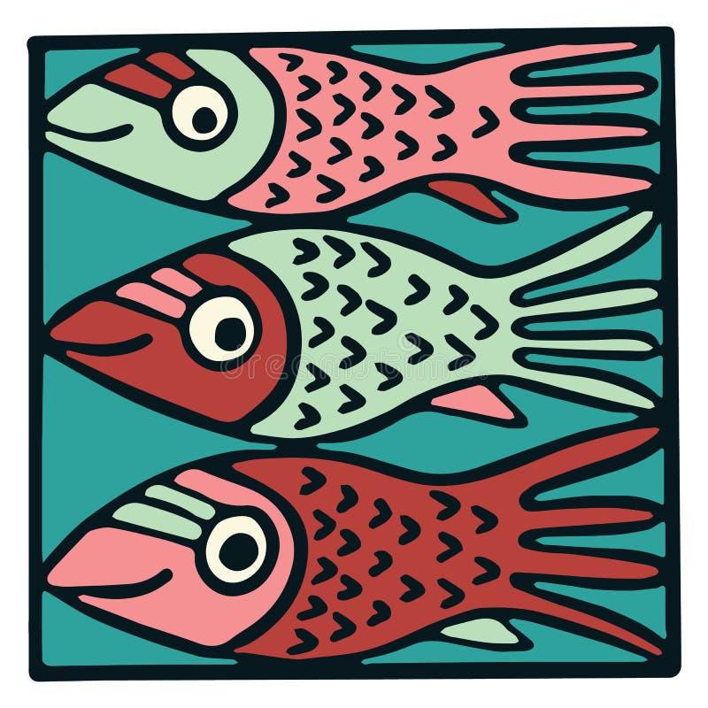 Cute three pink fish tile clipart. Colorful decorative marine life vector illustration. Cute three fish tile clipart. Colorful decorative marine life vector stock illustration