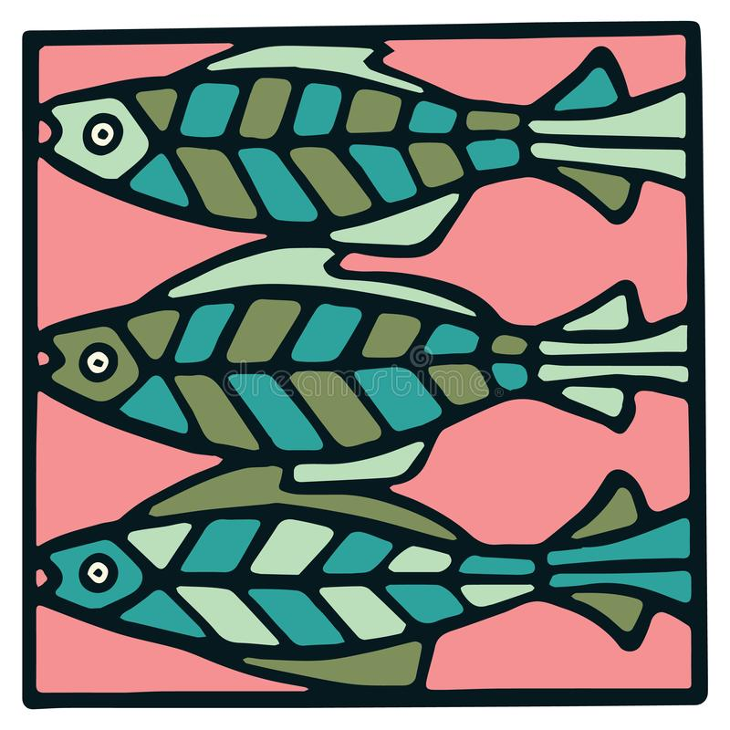 Cute three salmon fish tile clipart. Colorful decorative marine life vector illustration. Cute three fish tile clipart. Colorful decorative marine life vector royalty free illustration