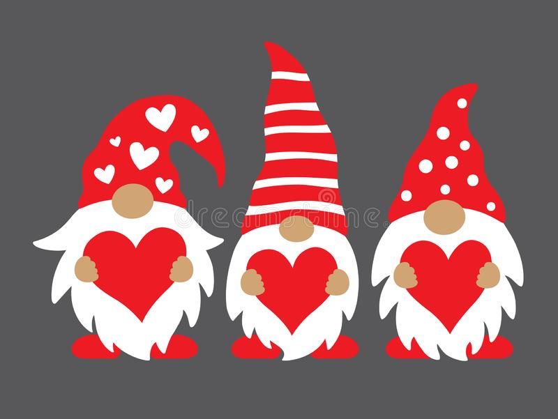 Valentine Gnomes Holding Hearts Vector Illustration. Cute three valentine gnomes holding hearts vector illustration royalty free illustration