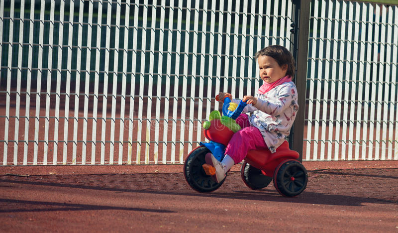 Cute three-year-old little child riding a 3-wheel bike in playground royalty free stock image