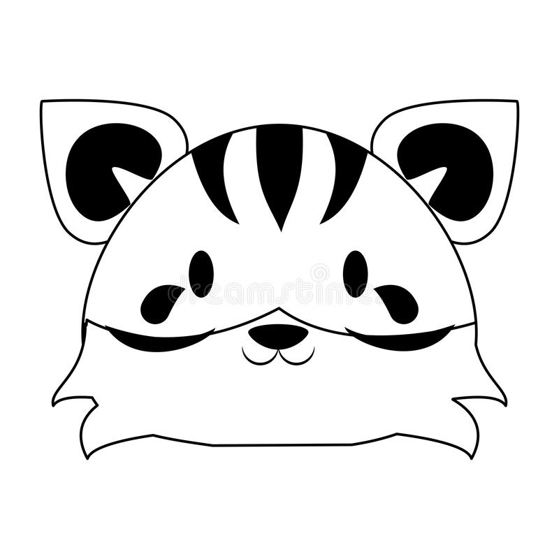 Cute tiger animal cartoon in black and white vector illustration