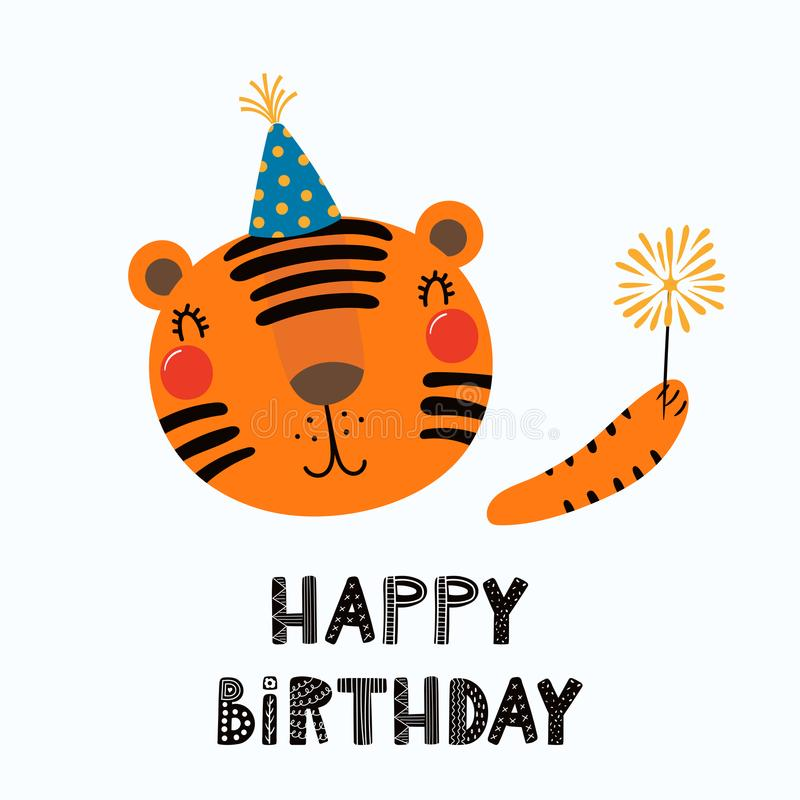 Cute tiger birthday card royalty free illustration