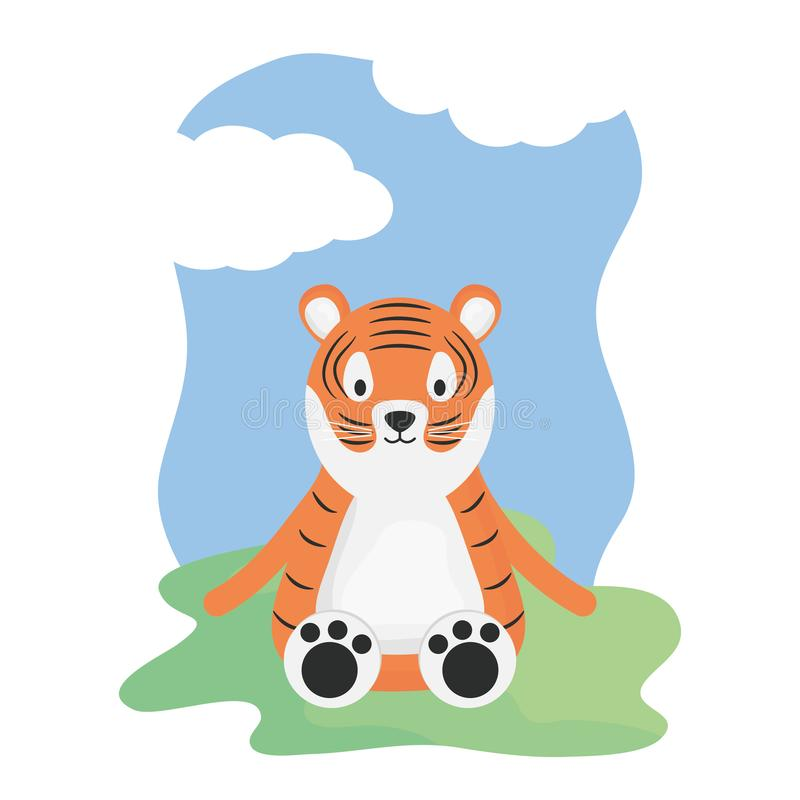 Cute tiger in the camp childish character. Vector illustration design royalty free illustration