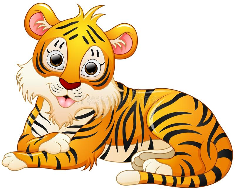 Cute tiger cartoon lay down. Illustration of Cute tiger cartoon lay down royalty free illustration