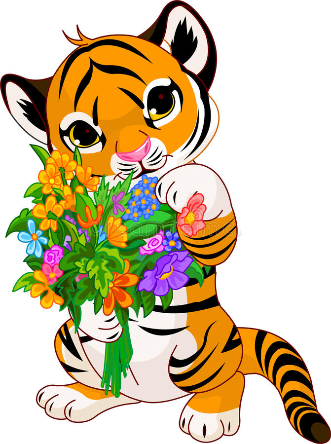 Cute tiger cub with flowers stock illustration