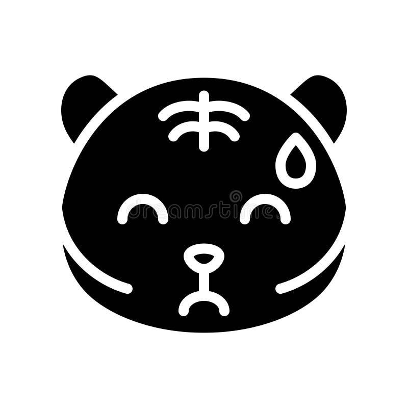 Cute Tiger emoticon, solid style vector illustration vector illustration
