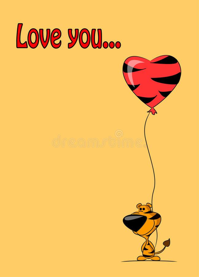 Download Cute Tiger Holds A Balloon,vector Stock Vector - Image: 21555187