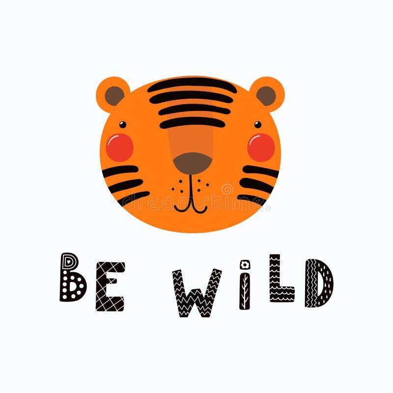 Cute tiger portrait vector illustration