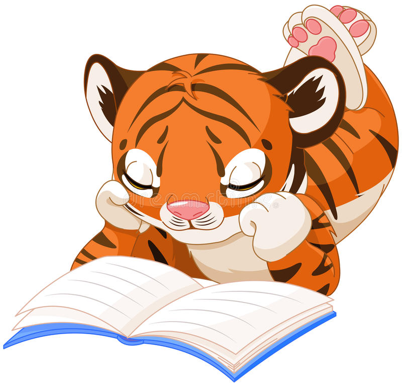Cute Tiger Reading Stock Vector - Image: 56459070