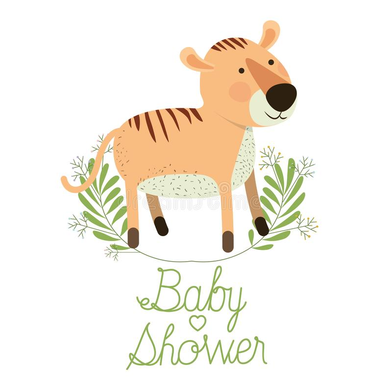 Cute tiger with wreath baby shower card vector illustration