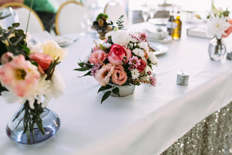 Cute Tiny Bouquet Of Flowers On The Table Stock Photo - Image of ...