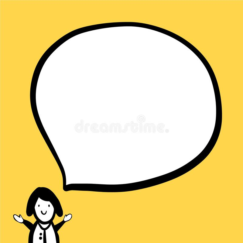 Cute tiny girl and speech bubble hand drawn illustration in cartoon style stock illustration