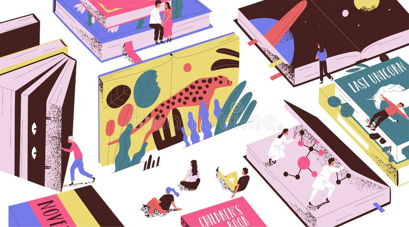 Cute tiny people reading fairytales, science fiction, giant textbooks. Concept of book world, readers at library vector illustration