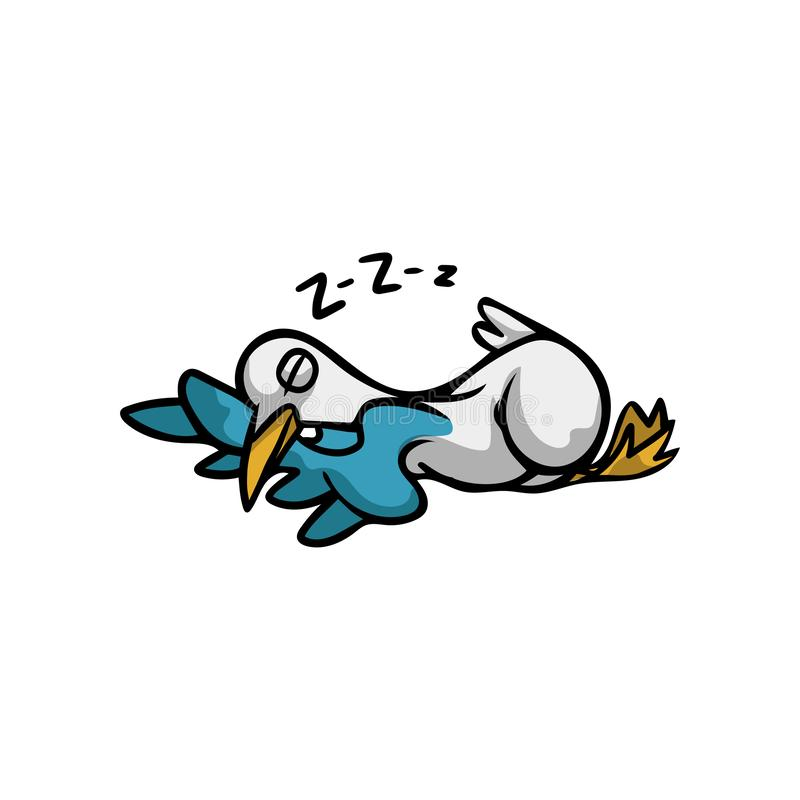 Cute tired seagull bird is sleeping on soft pillow vector illustration