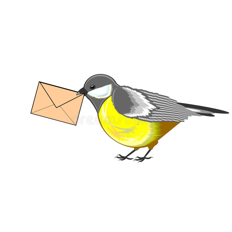 A cute titmouse with a letter in its beak. Vector-art illustration isolated on a white background vector illustration