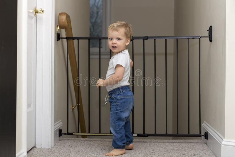 Cute toddler approaching safety gate of stairs at home stock images