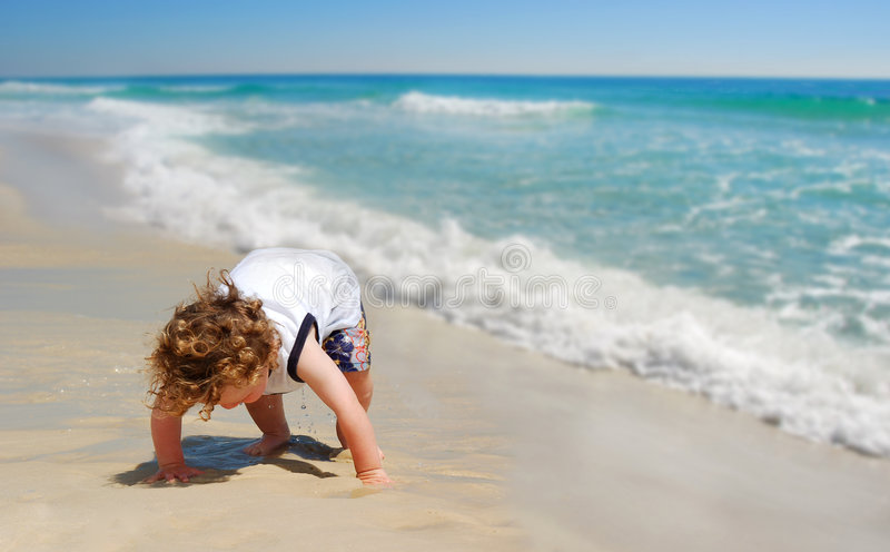 Download Cute Toddler Baby on Beach stock image. Image of play - 4821971