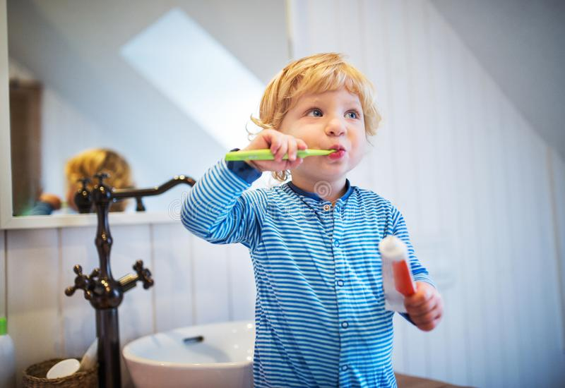 Cute toddler boy brushing his teeth in the bathroom. Cute toddler brushing his teeth in the bathroom. Little boy standing on a stool stock image