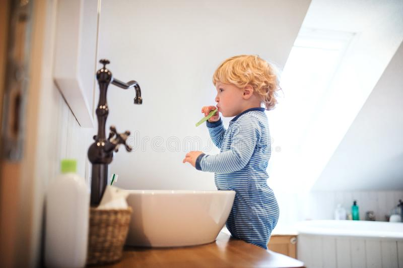 Cute toddler boy brushing his teeth in the bathroom. Cute toddler brushing his teeth in the bathroom. Little boy standing on a stool in front of mirror stock image
