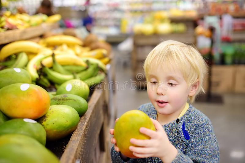 Cute toddler boy in a food store or a supermarket choosing fresh organic mango. Healthy lifestyle for young family with kids stock photos