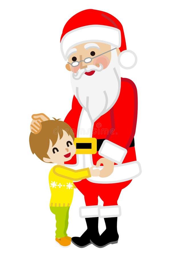 Toddler boy hugging Santa Claus. Cute Toddler boy hugging Santa Claus. Simple cartoon vector Illustration, White background royalty free illustration