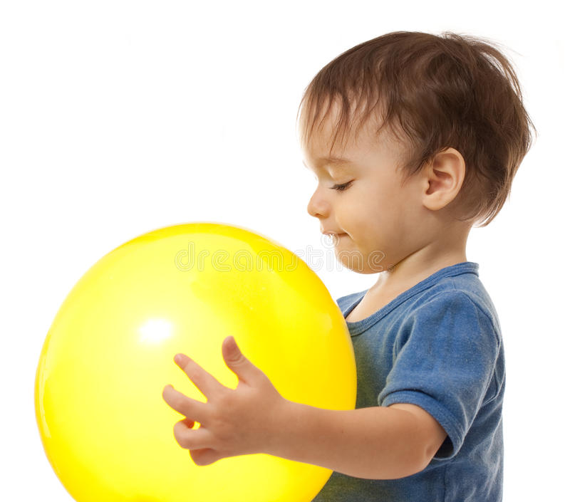 Download Cute Toddler Boy Is Playing With Yellow Balloon Stock Image - Image of colorful, white: 12063591