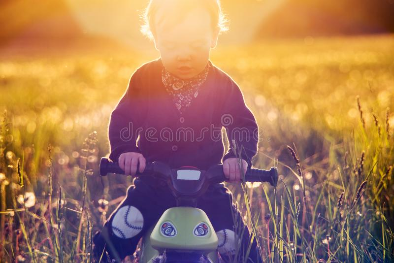 Cute toddler child at outdoors meadow at sunset light royalty free stock photo