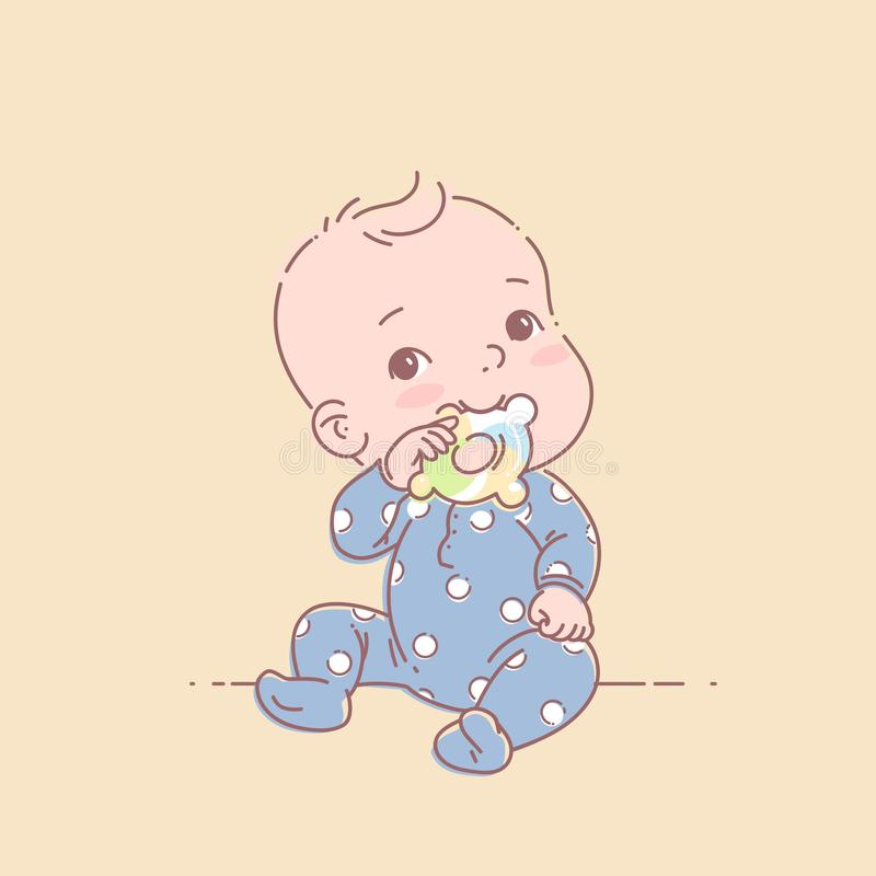Little baby boy in blue pajamas sit, hold teething ring. Cute toddler child with toy in mouth. Color vector illustration. Baby wear jumpsuit. First year games stock illustration