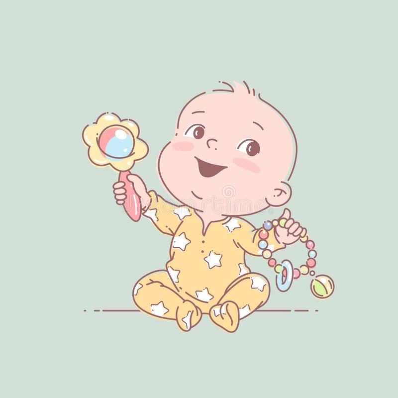 Little baby boy or girl in diaper play sitting on floor. Cute toddler child with toy rattle in hand. Color vector illustration. Baby holding toys. First year vector illustration