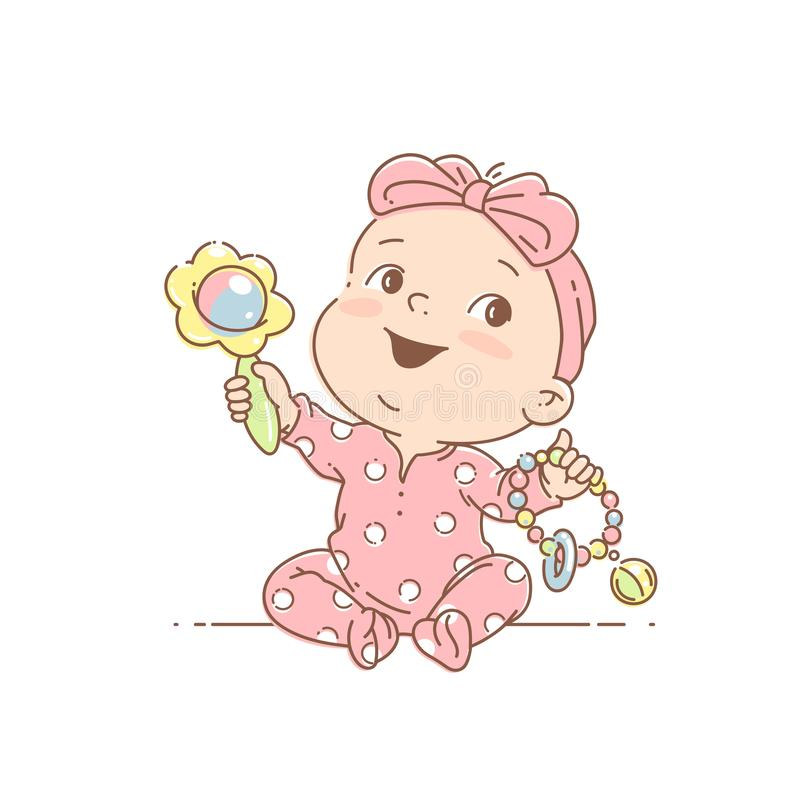 Little baby girl in pink pajamas, with bow play sitting. Cute toddler child with toy rattle in hand. Color vector isolated illustration. Baby holding toys. First royalty free illustration