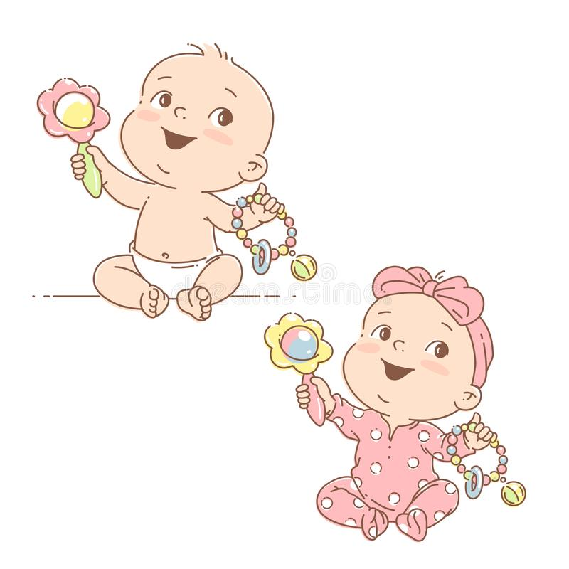 Set with little babies in diaper and pajamas playing. Cute toddler child with toy rattle in hand. Color vector isolated illustration. Baby holding toys. First stock illustration