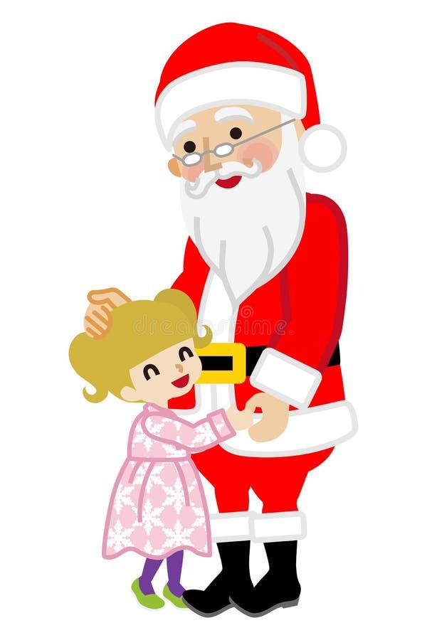 Toddler girl hugging Santa Claus. Cute Toddler girl hugging Santa Claus. Simple cartoon vector Illustration. White background royalty free illustration