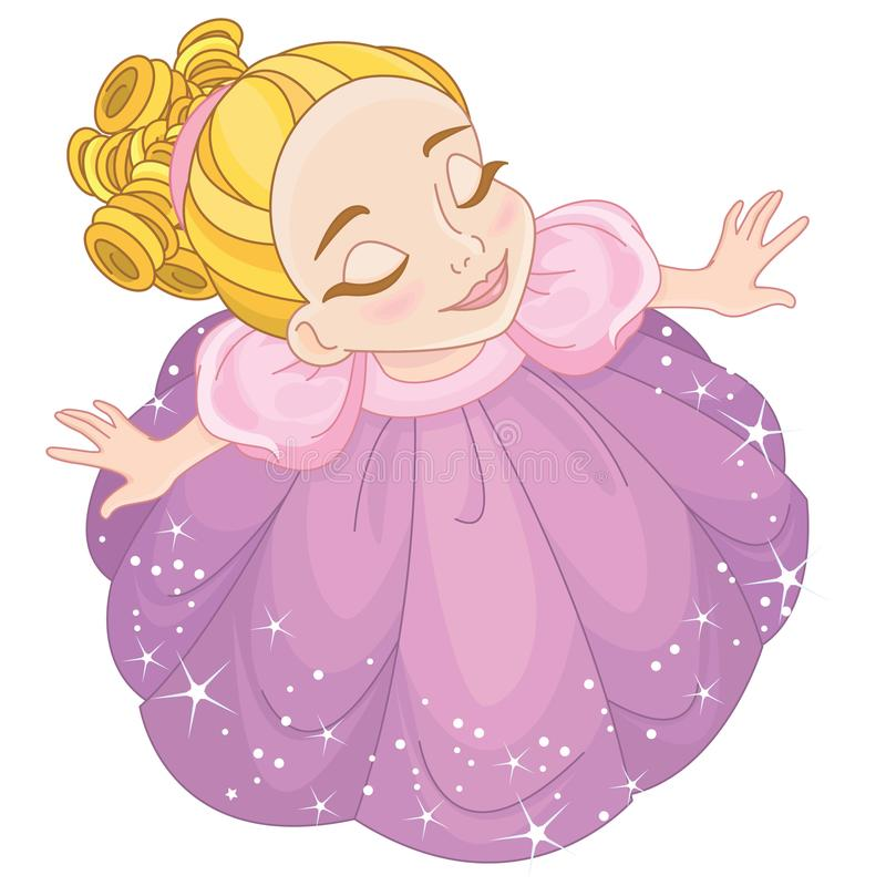 Cute Toddler girl looking up royalty free illustration