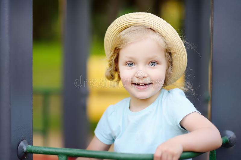 Cute toddler girl outdoors portrait in summer day royalty free stock image