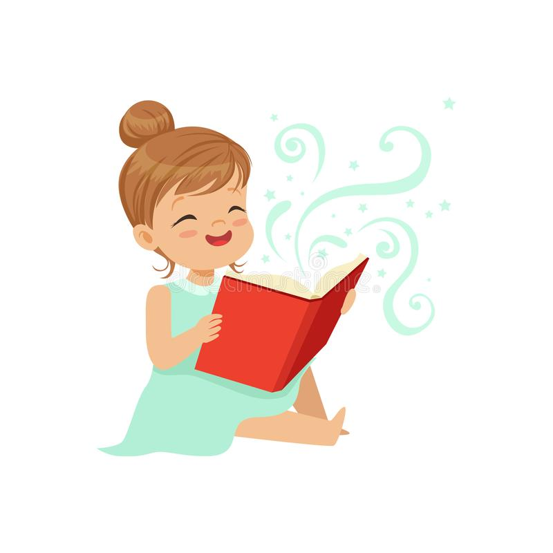 Cute toddler girl sitting on the floor with open magic book. Cheerful children character reading fairy tales. Happy royalty free illustration
