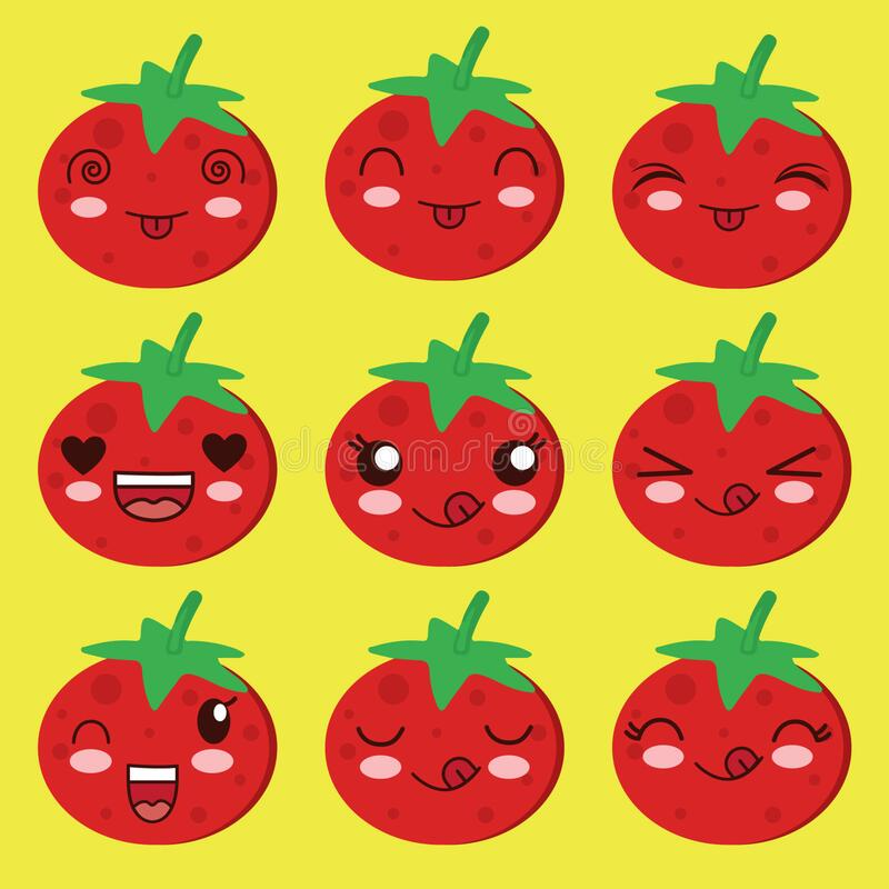 Cute tomato illustrator vector with funny expression royalty free stock images