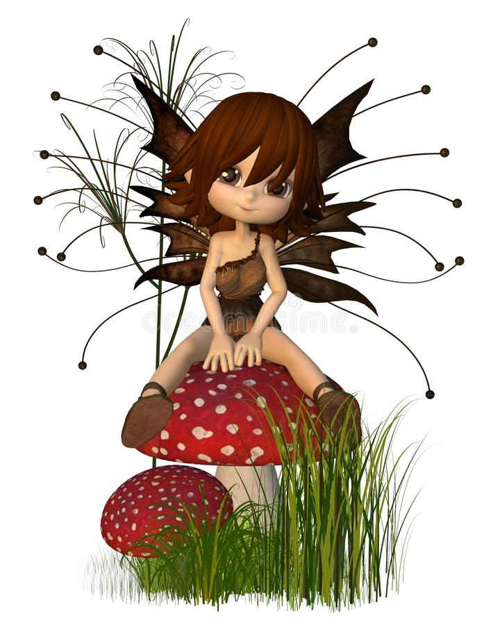 Cute Toon Autumn Fairy and Toadstool vector illustration