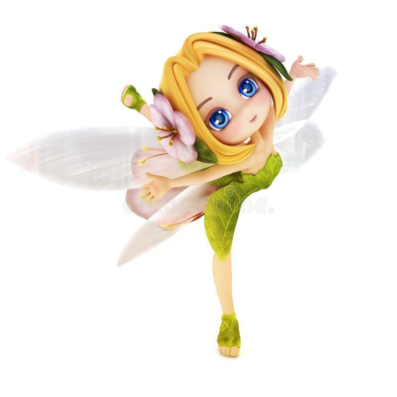 Cute toon ballerina fairy vector illustration
